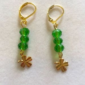 Gold Plated Shamrocks Earrings w/ Green Cr…